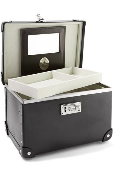 Globe-Trotter Centenary 33 cm Kosmetikkoffer aus Vulkanfiber mit Lederbesatz
