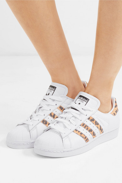 adidas originals superstar sneakers with leopard print trim