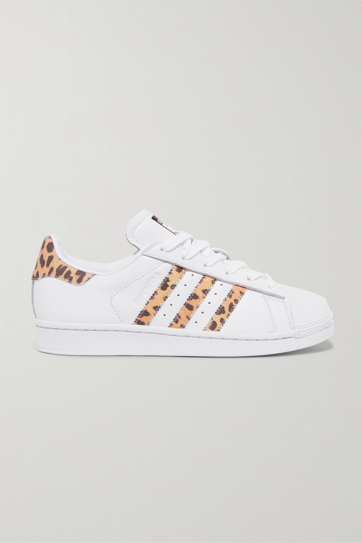 White Superstar leopard print-trimmed