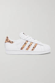 adidas Originals Superstar leopard print-trimmed leather sneakers