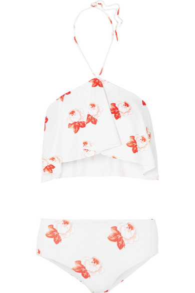 Lieferung Frei Haus Mit Paypal GANNI Neckholder-Bikini mit Print und Rüschen Verkauf Neueste Verkauf Geniue Händler 4QVDkvY5