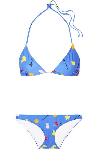 GANNI Dexies bedruckter Triangel-Bikini