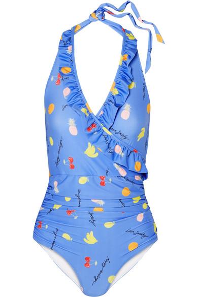 GANNI - Dexies Ruffled Printed Halterneck Swimsuit - Light blue