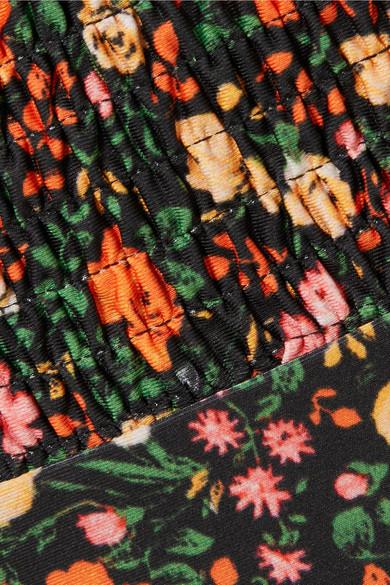 GANNI Ipanema geraffter Bikini mit floralem Print