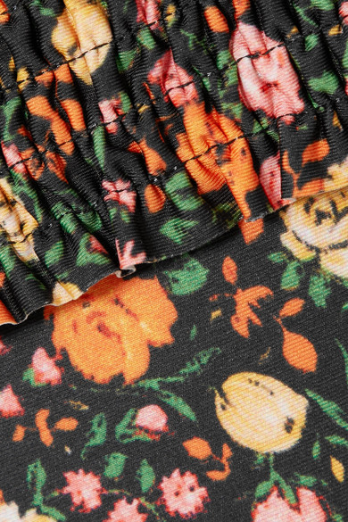 GANNI Ipanema geraffter Neckholder-Badeanzug mit floralem Print