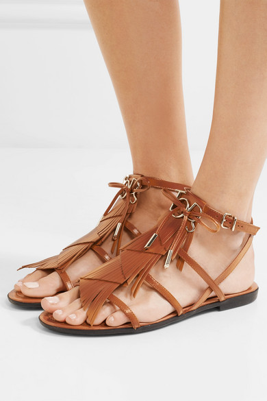 Embellished Fringed Leather Sandals by Tod's