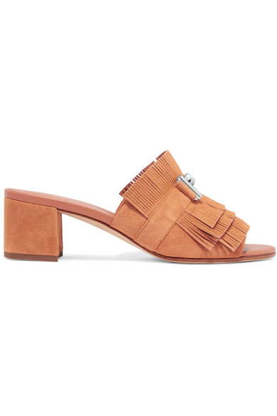Tod's Embellished Fringed Suede Mules - Tan Purchase Sale Online X8rZxox