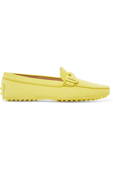 Tod's - Gommino Embellished Suede Loafers - Bright yellow