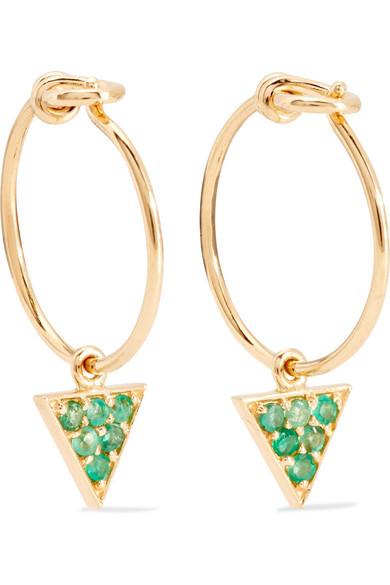 II - 14-karat Gold Emerald Earrings