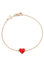 Heart enameled 14-karat gold bracelet