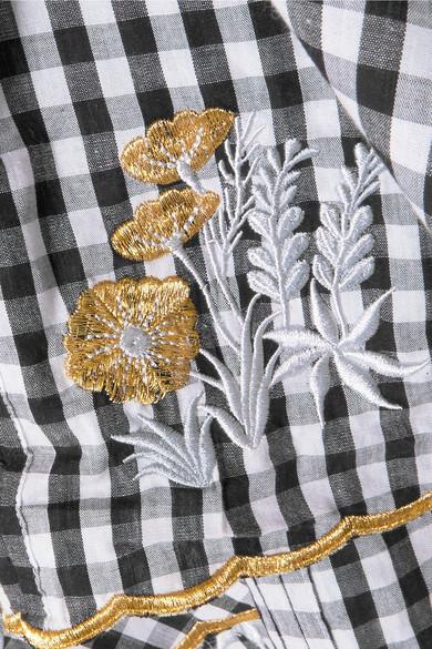 Innika Choo Gesmoktes Kleid aus Baumwolle mit Stickerei und Gingham-Karo