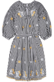 Smocked embroidered gingham cotton dress