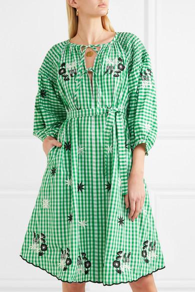 Gesmoktes Leinenkleid Mit Stickereien - Weiß Innika Choo 0rDXb