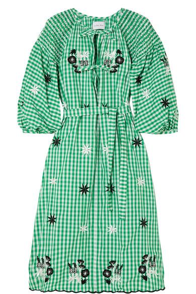 Innika Choo Gesmoktes Kleid aus karierter Baumwolle mit Stickerei