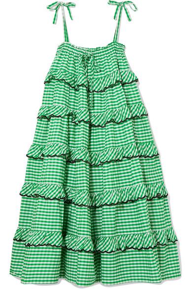 Innika Choo Gestuftes Midikleid aus Baumwolle mit Gingham-Karo und Stickerei