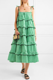 Tiered embroidered gingham cotton midi dress