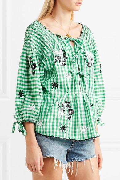 Innika Choo Gesmokte Bluse aus Baumwolle mit Gingham-Karo und Stickereien