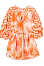 Smocked embroidered gingham cotton mini dress