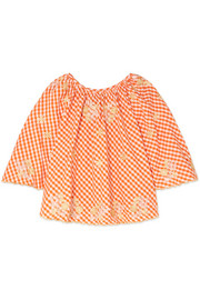 Smocked embroidered gingham cotton top