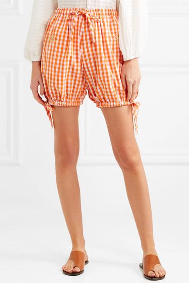 Innika Choo Bestickte Shorts aus Baumwolle mit Gingham-Karo