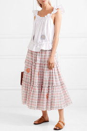 Embroidered gingham linen midi skirt