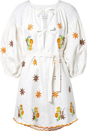 Smocked embroidered cotton-canvas mini dress