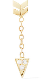 Arrow 14-karat gold diamond earring
