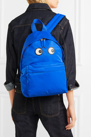 Eyes textured leather-trimmed shell backpack