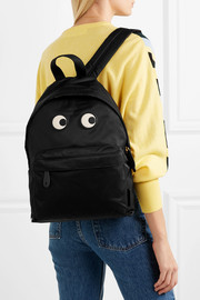 Eyes textured leather-trimmed printed shell backpack