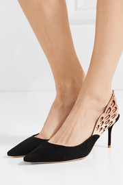 Sophia Webster Angelo cutout metallic-trimmed leather and suede slingback pumps