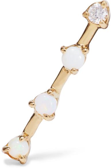 Linear 14-karat Gold Diamond, Opal And Sapphire Choker - one size Wwake