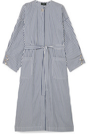 Faux pearl-embellished striped organic cotton-poplin dress