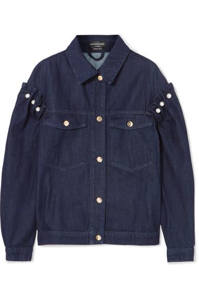 Oversized Faux Pearl-embellished Denim Jacket - Dark denim Mother Of Pearl Stockist Online AdUPT