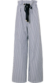 Striped organic cotton-poplin wide-leg pants