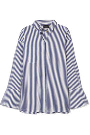 Faux pearl-embellished striped organic cotton shirt