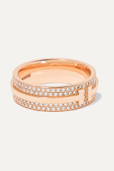 les mieux notés grande remise de 2019 où acheter Bague en or rose 18 carats et diamant