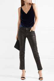 J Brand Lucy velvet and silk-crepe camisole
