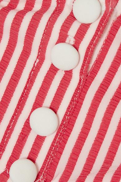 Solid & Striped The Mackenzie gestreiftes Bikini-Oberteil aus Seersucker