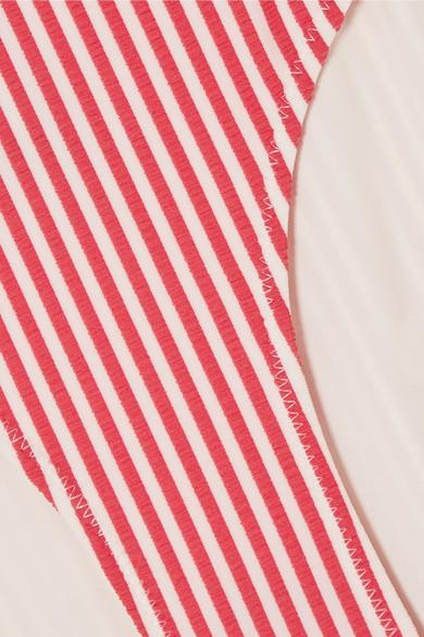 Solid & Striped The Mackenzie gestreiftes Bikini-Höschen aus Seersucker