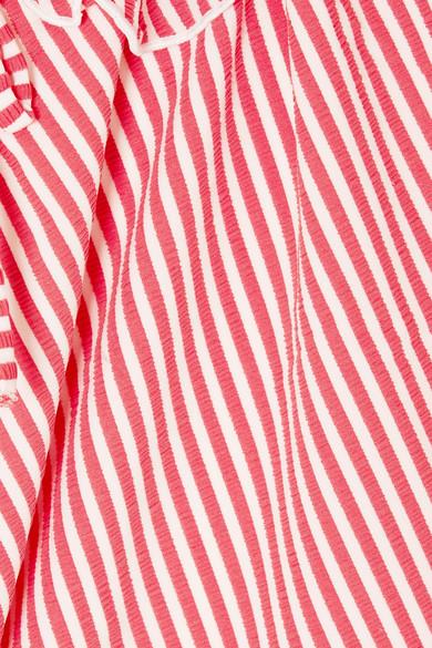 Solid & Striped The Amelia schulterfreier Badeanzug aus Seersucker mit Rüschen
