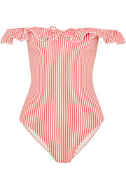 Solid & Striped The Amelia off-the-shoulder ruffle-trimmed seersucker swimsuit
