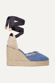 Canela frayed denim wedge espadrilles
