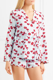 Mercer floral-print washed-silk robe