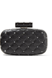Valentino Valentino Garavani The Rockstud Spike quilted cracked-leather clutch