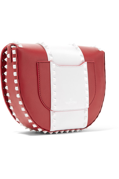 Valentino Rockstud zweifarbige Schultertasche aus Leder
