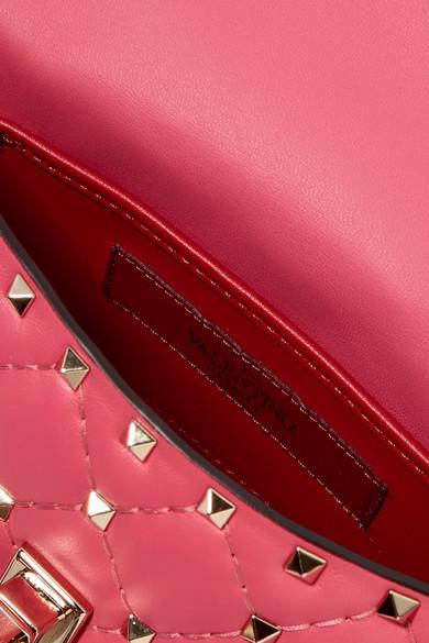 Valentino Rockstud Spike kleine Schultertasche aus gestepptem Leder