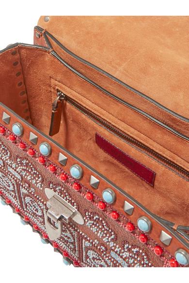 Valentino Rockstud Rolling Schultertasche aus strukturiertem Leder mit Verzierungen