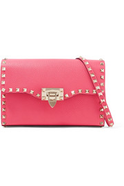 Rockstud textured-leather shoulder bag