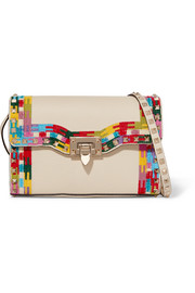 Valentino The Rockstud embroidered textured-leather shoulder bag