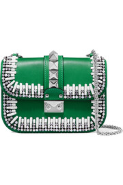 Valentino Lock embellished two-tone leather shoulder bag